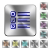 Questionnaire rounded square steel buttons - Questionnaire engraved icons on rounded square glossy steel buttons