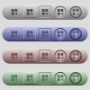 Previous component icons on rounded horizontal menu bars in different colors and button styles - Previous component icons on horizontal menu bars