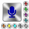 Single microphone rounded square steel buttons - Single microphone engraved icons on rounded square glossy steel buttons