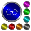 Eyeglasses icons on round luminous coin-like color steel buttons - Eyeglasses luminous coin-like round color buttons
