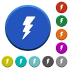 Lightning energy beveled buttons - Lightning energy round color beveled buttons with smooth surfaces and flat white icons