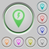 Fast approach GPS map location push buttons - Fast approach GPS map location color icons on sunk push buttons