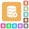 Database macro prev rounded square flat icons - Database macro prev flat icons on rounded square vivid color backgrounds.