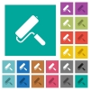 Paint roller square flat multi colored icons - Paint roller multi colored flat icons on plain square backgrounds. Included white and darker icon variations for hover or active effects.
