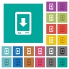 Mobile scroll down square flat multi colored icons - Mobile scroll down multi colored flat icons on plain square backgrounds. Included white and darker icon variations for hover or active effects.