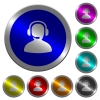 Operator luminous coin-like round color buttons - Operator icons on round luminous coin-like color steel buttons