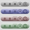 Free sticker icons on horizontal menu bars - Free sticker icons on rounded horizontal menu bars in different colors and button styles