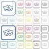 Comedy and tragedy theatrical masks outlined flat color icons - Comedy and tragedy theatrical masks color flat icons in rounded square frames. Thin and thick versions included.