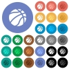 Basketball round flat multi colored icons - Basketball multi colored flat icons on round backgrounds. Included white, light and dark icon variations for hover and active status effects, and bonus shades on black backgounds.