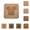 T-shirt wooden buttons - T-shirt on rounded square carved wooden button styles