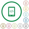 Mobile scripting flat icons with outlines - Mobile scripting flat color icons in round outlines on white background