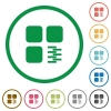Zip component flat icons with outlines - Zip component flat color icons in round outlines on white background