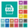RAR file format square flat multi colored icons - RAR file format multi colored flat icons on plain square backgrounds. Included white and darker icon variations for hover or active effects.