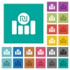 Israeli new Shekel financial graph square flat multi colored icons - Israeli new Shekel financial graph multi colored flat icons on plain square backgrounds. Included white and darker icon variations for hover or active effects.