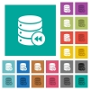Database macro fast backward square flat multi colored icons - Database macro fast backward multi colored flat icons on plain square backgrounds. Included white and darker icon variations for hover or active effects.