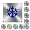 Single snowflake engraved icons on rounded square glossy steel buttons - Single snowflake rounded square steel buttons