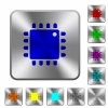 Computer processor rounded square steel buttons - Computer processor engraved icons on rounded square glossy steel buttons