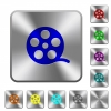Movie roll rounded square steel buttons - Movie roll engraved icons on rounded square glossy steel buttons