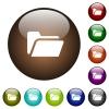 Folder open color glass buttons - Folder open white icons on round color glass buttons