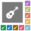 Acoustic guitar square flat icons - Acoustic guitar flat icons on simple color square backgrounds