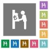 Lira cash machine square flat icons - Lira cash machine flat icons on simple color square backgrounds