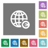 Online Euro payment square flat icons - Online Euro payment flat icons on simple color square backgrounds