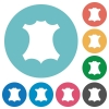 Genuine leather symbol flat round icons - Genuine leather symbol flat white icons on round color backgrounds