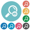 Print search results flat round icons - Print search results flat white icons on round color backgrounds