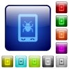 Malicious mobile software color square buttons - Malicious mobile software icons in rounded square color glossy button set