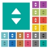 Vertical control arrows square flat multi colored icons - Vertical control arrows multi colored flat icons on plain square backgrounds. Included white and darker icon variations for hover or active effects.
