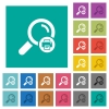 Print search results square flat multi colored icons - Print search results multi colored flat icons on plain square backgrounds. Included white and darker icon variations for hover or active effects.