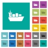 Sea transport square flat multi colored icons - Sea transport multi colored flat icons on plain square backgrounds. Included white and darker icon variations for hover or active effects.