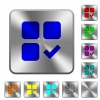 Component ok rounded square steel buttons - Component ok engraved icons on rounded square glossy steel buttons