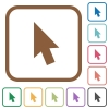 Mouse cursor simple icons - Mouse cursor simple icons in color rounded square frames on white background