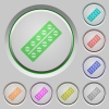 Batch of pills in blister pack push buttons - Batch of pills in blister pack color icons on sunk push buttons
