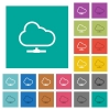 Cloud network square flat multi colored icons - Cloud network multi colored flat icons on plain square backgrounds. Included white and darker icon variations for hover or active effects.