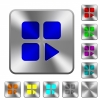 Component play rounded square steel buttons - Component play engraved icons on rounded square glossy steel buttons