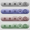 Circular saw icons on horizontal menu bars - Circular saw icons on rounded horizontal menu bars in different colors and button styles