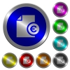 Euro financial report luminous coin-like round color buttons - Euro financial report icons on round luminous coin-like color steel buttons