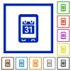 Mobile organizer flat framed icons - Mobile organizer flat color icons in square frames on white background