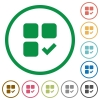 Component ok flat icons with outlines - Component ok flat color icons in round outlines on white background