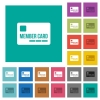Member card square flat multi colored icons - Member card multi colored flat icons on plain square backgrounds. Included white and darker icon variations for hover or active effects.
