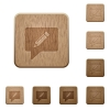 writing comment wooden buttons - writing comment on rounded square carved wooden button styles