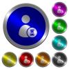 User account waiting luminous coin-like round color buttons - User account waiting icons on round luminous coin-like color steel buttons