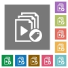Tag playlist square flat icons - Tag playlist flat icons on simple color square backgrounds