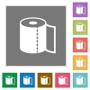 Paper towel square flat icons - Paper towel flat icons on simple color square backgrounds