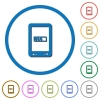 Mobile processing icons with shadows and outlines - Mobile processing flat color vector icons with shadows in round outlines on white background