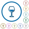 Glass of wine icons with shadows and outlines - Glass of wine flat color vector icons with shadows in round outlines on white background