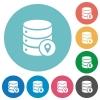Database location flat round icons - Database location flat white icons on round color backgrounds