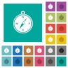Compass square flat multi colored icons - Compass multi colored flat icons on plain square backgrounds. Included white and darker icon variations for hover or active effects.